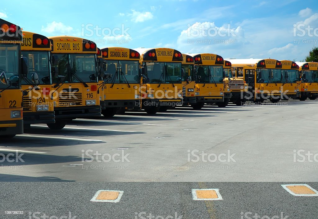 School Buses Parked royalty-free stock photo