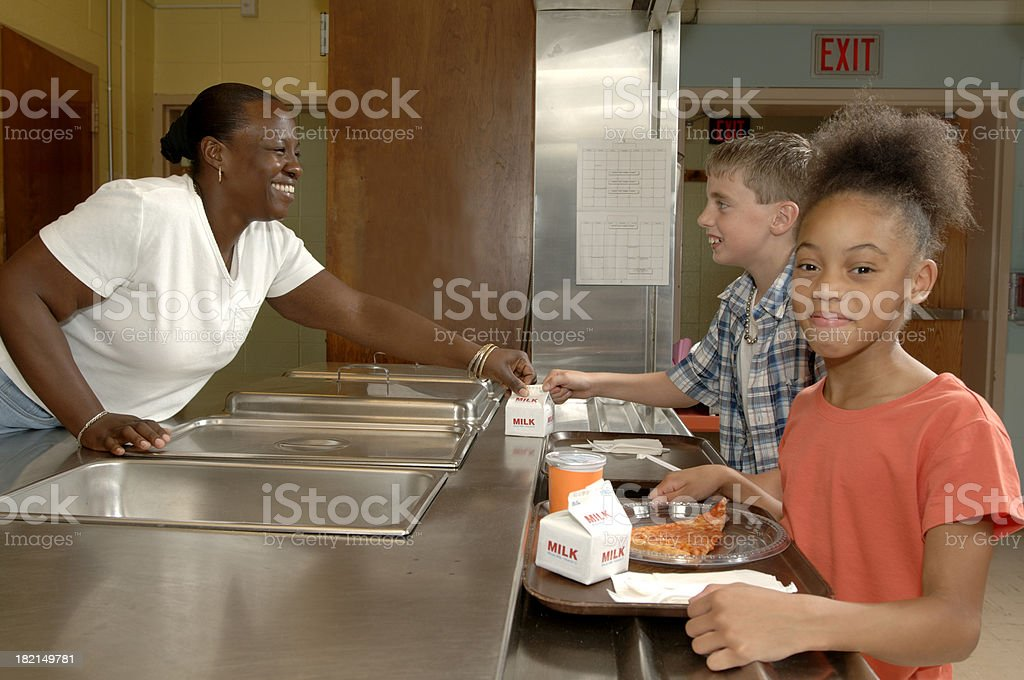 School cafeteria line stock photo