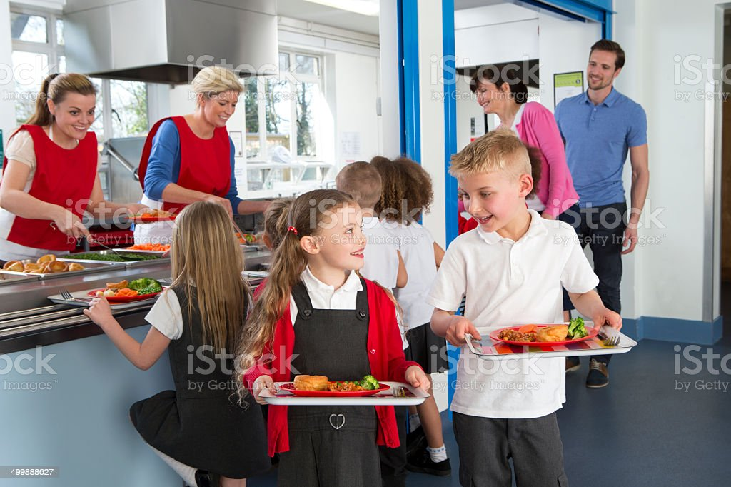 School Cafeteria Line stock photo