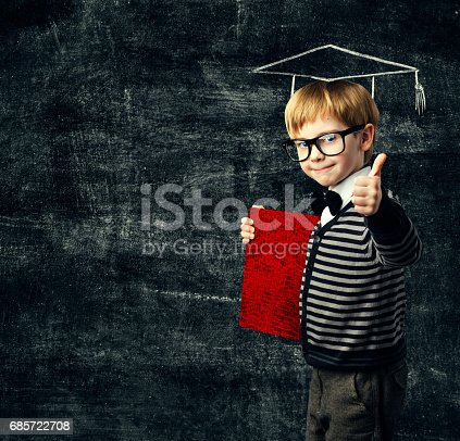 istock School Child Education Book, Kid in Glasses with Certificate, Graduation Hat on Blackboard Background, Thumbs Up 685722708