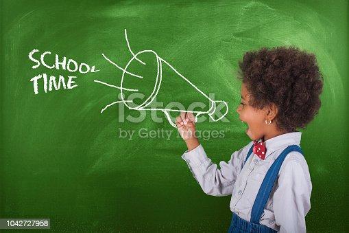 School child scream megaphone near school blackboard.