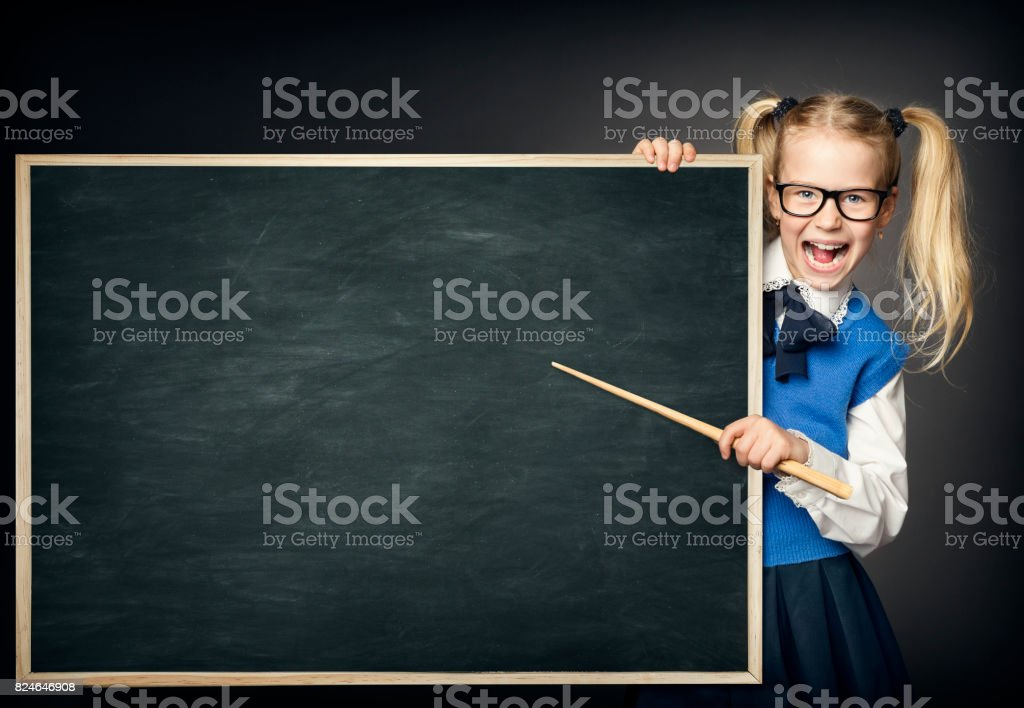 School Child with Pointer, Kid Girl Peek Blackboard, Learning and Education Advertisement stock photo