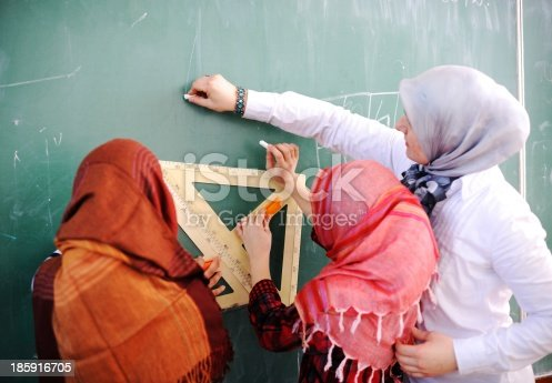 157687202 istock photo School children being educated at the blackboard 185916705