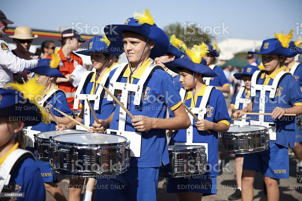 School children in marching band playing drums stock photo