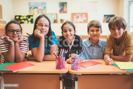 Group of school children sitting behind the desks and smiling