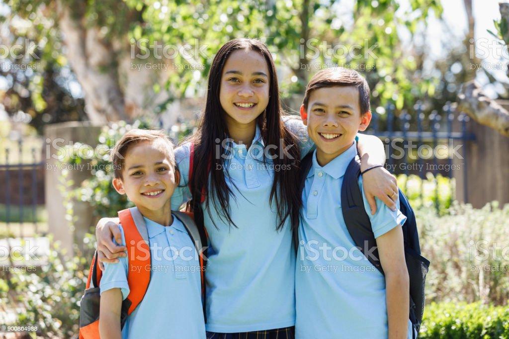 School Children Leaving The House stock photo