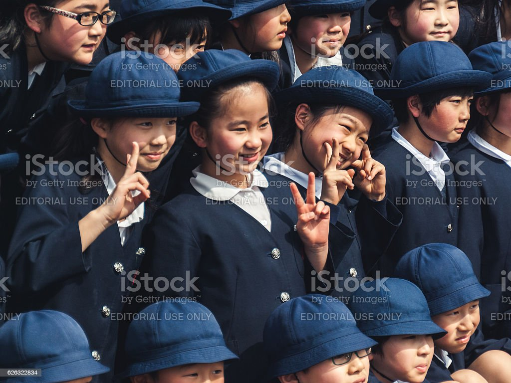 School children posing for group photo stock photo