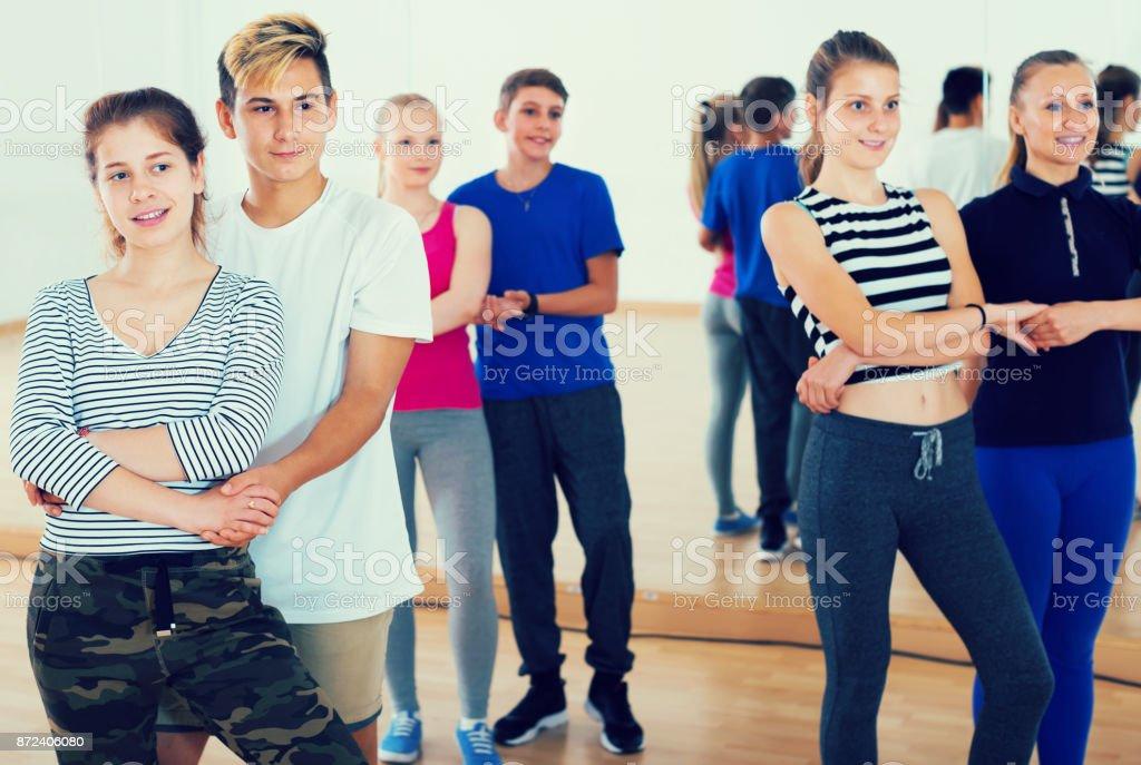 School children  to dance classical dances stock photo