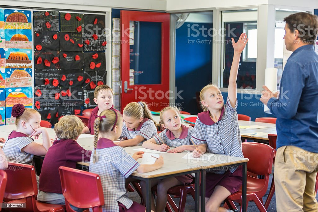 School Children Working in the Classroom stock photo