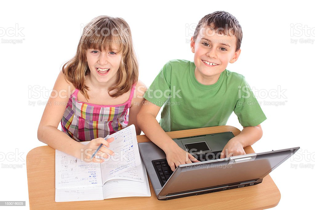 School children working together, educational concept royalty-free stock photo