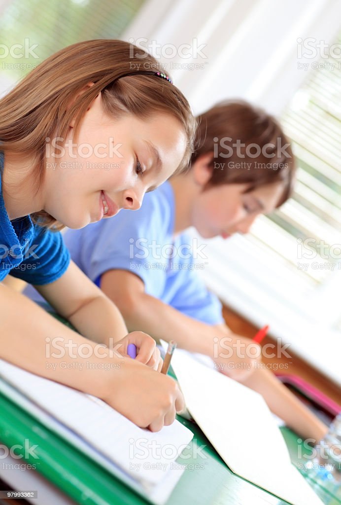School children writing in notebook on the lesson. royalty free stockfoto