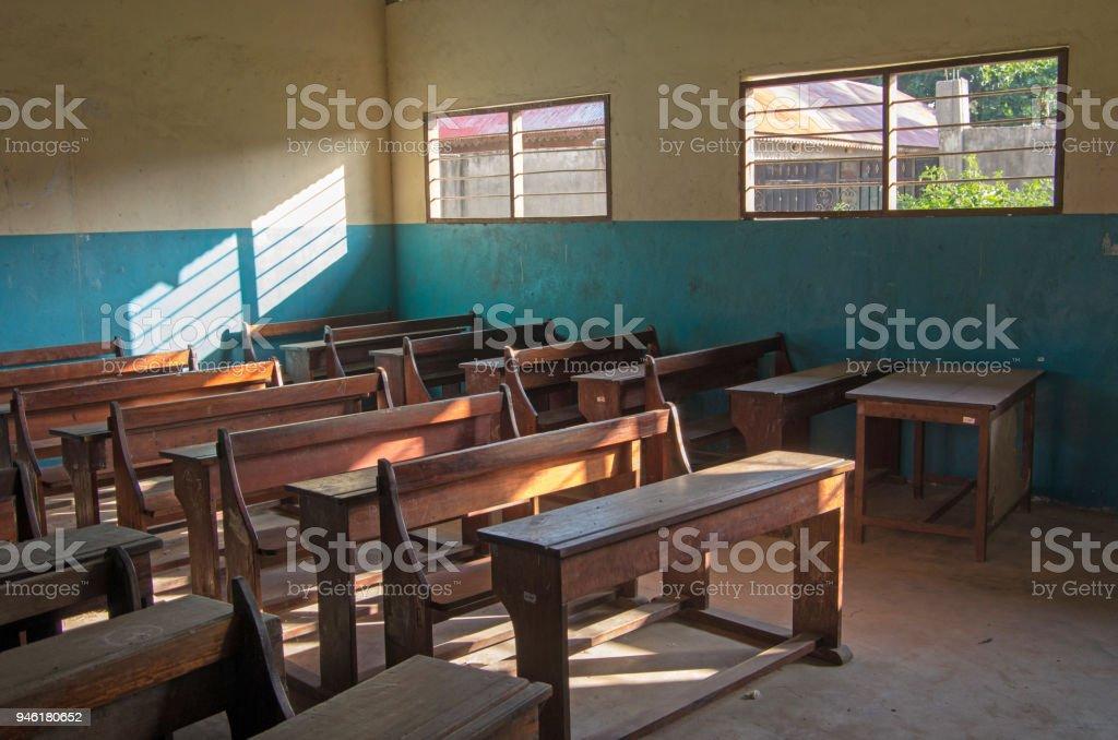 School class in the north of Zanzibar, Tanzania. An ordinary classroom in an African school. stock photo