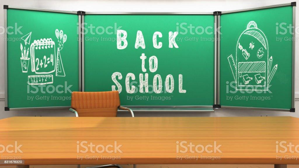 School class teacher table 3d render stock photo