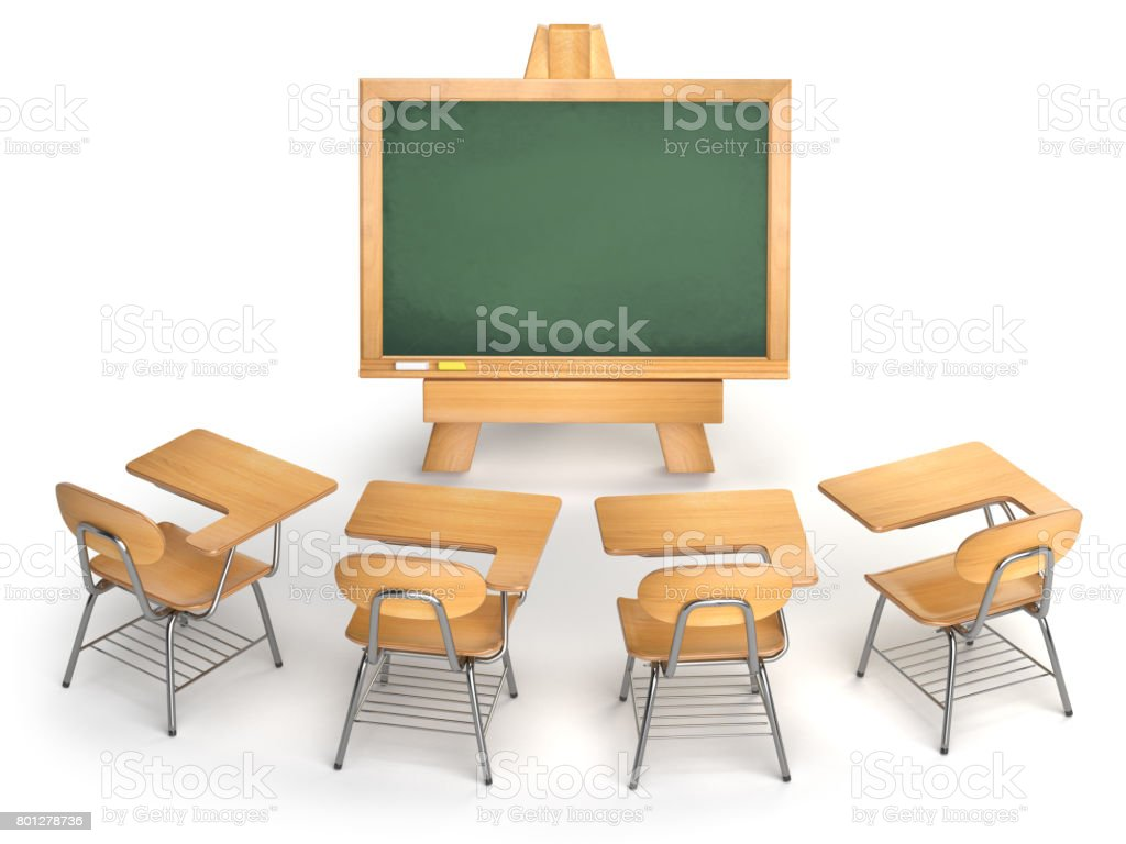Photo de stock de salle de classe vider un tableau noir et école
