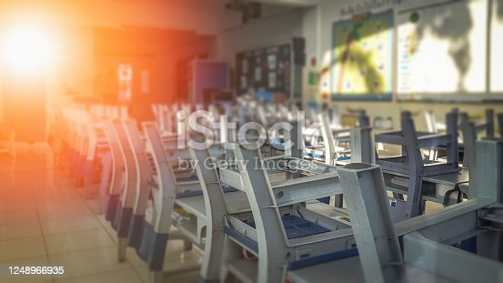 881192038 istock photo School classroom in blur background without young student; Blurry view of elementary class room no kid or teacher with chairs and tables in campus. 1248966935