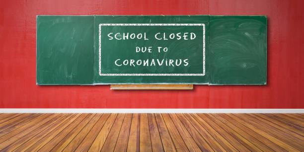 Schule geschlossen wegen Coronavirus Text an grüner Tafel, Tafeltextur mit Kopierraum hängt an roter Grunge-Wand und Holzboden 3D-Illustration – Foto