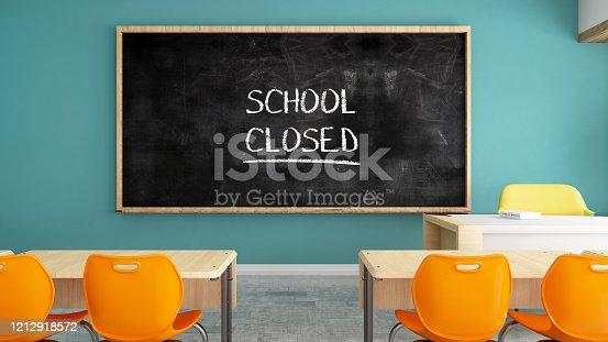 School Closed Sign on Chalkboard in Classroom. 3d Render