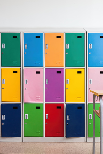 istock School colorful lockers in the classroom 1015350562