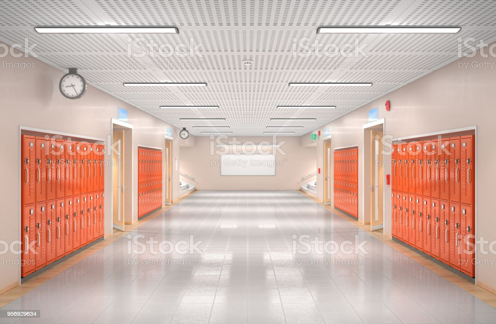 School corridor interior. 3d illustration stock photo