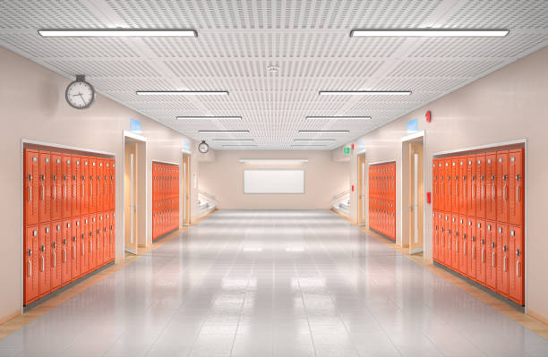 School corridor interior. 3d illustration - foto stock