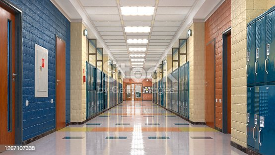 School corridor with lockers. 3d illustration