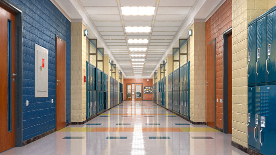 School corridor with lockers. 3d illustration
