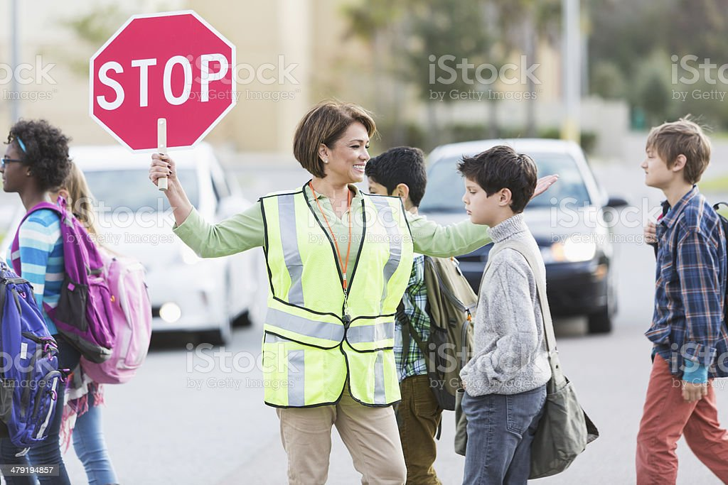 School crossing guard stock photo