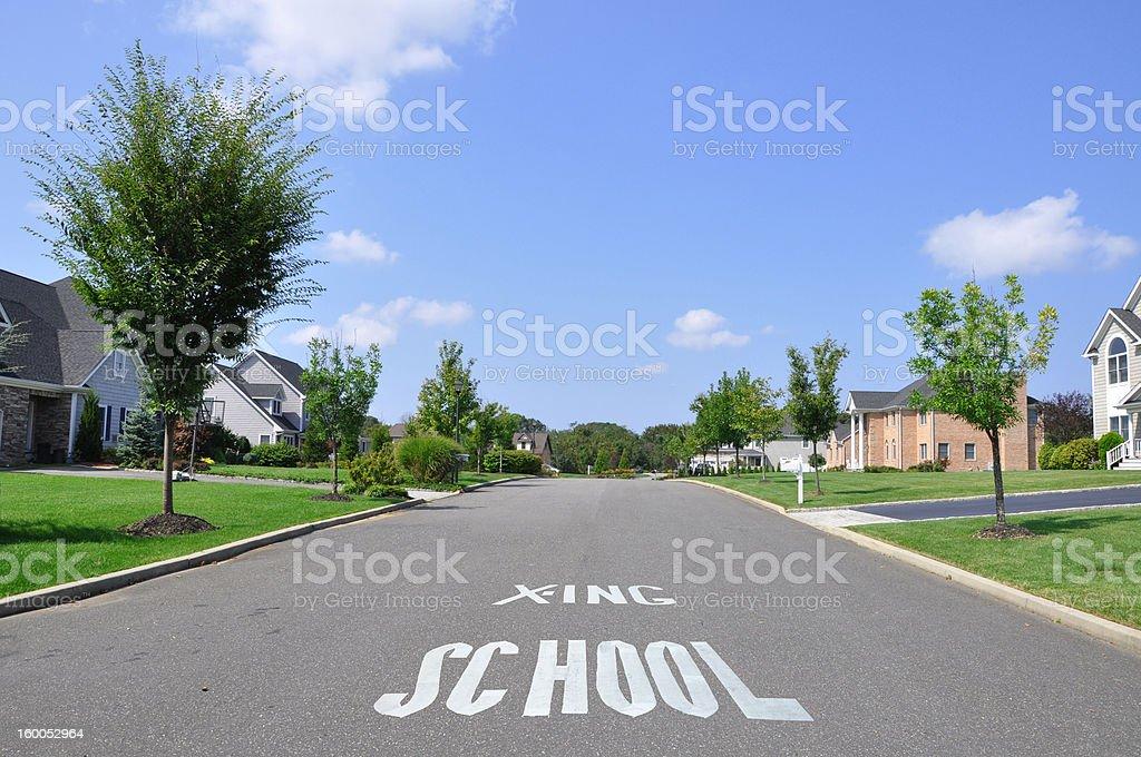School Crossing Street Sign Suburban Neighborhood stock photo