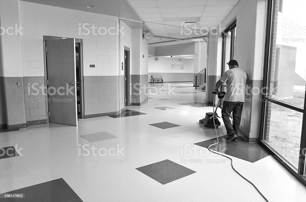 School Custodian Working stock photo