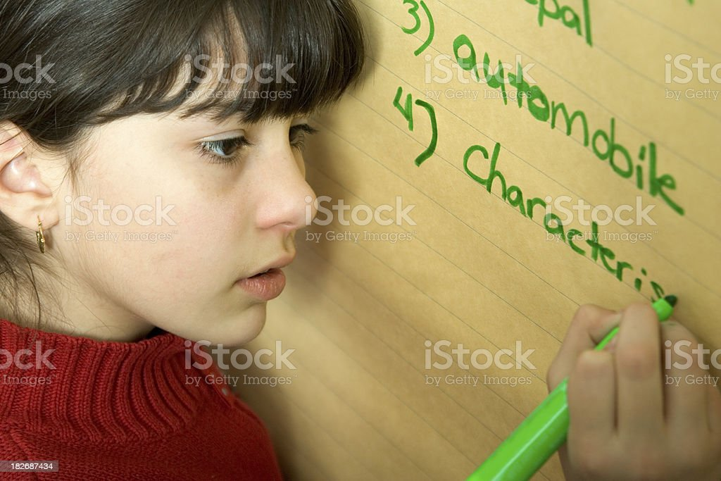 School Days - Spelling Words at the Flipchart stock photo