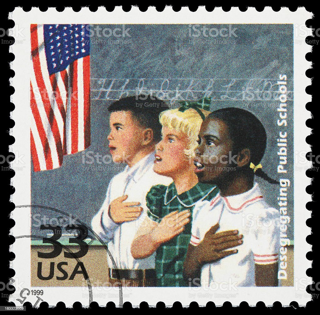 School desegregation postage stamp stock photo