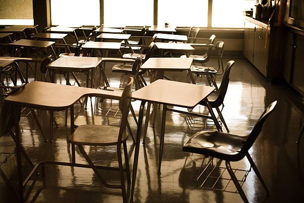 School Desks School Desks lecture hall stock pictures, royalty-free photos & images