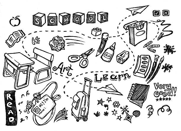 school doodle set - doodle stock photos and pictures