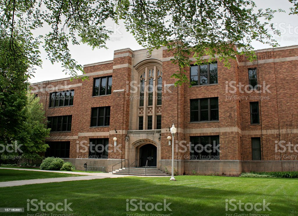 School Education Brick Building Exterior on University Campus royalty-free stock photo