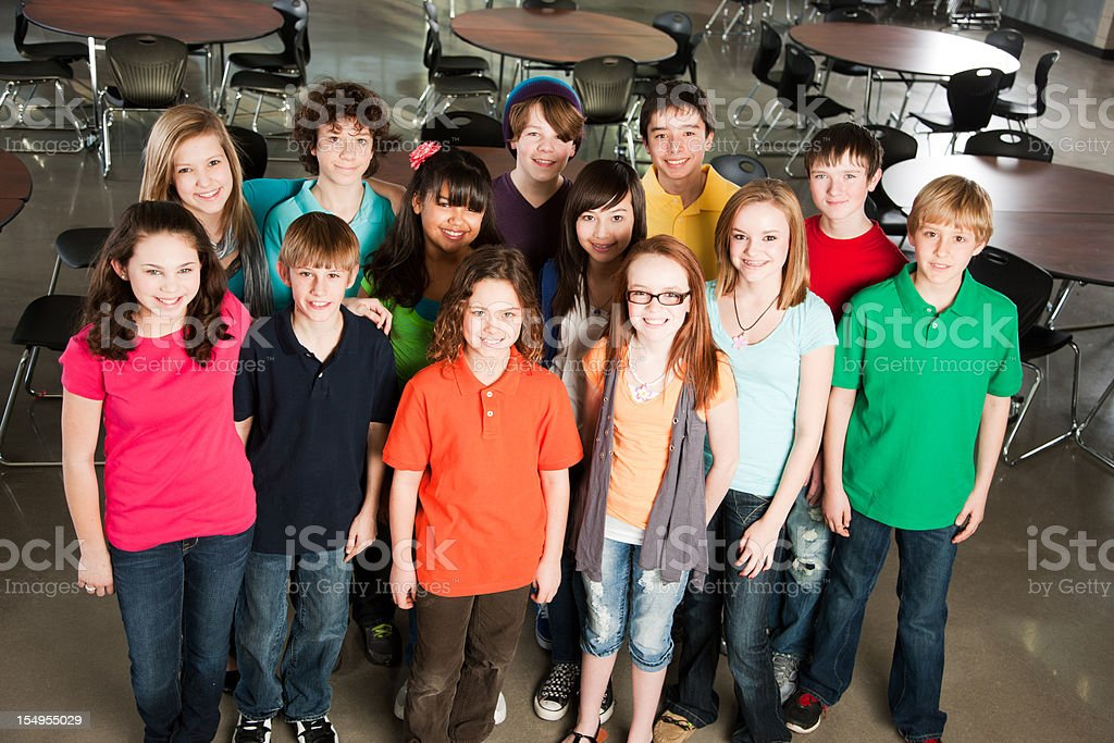 School Education:  Group of Diverse Students Standing Together Friends royalty-free stock photo