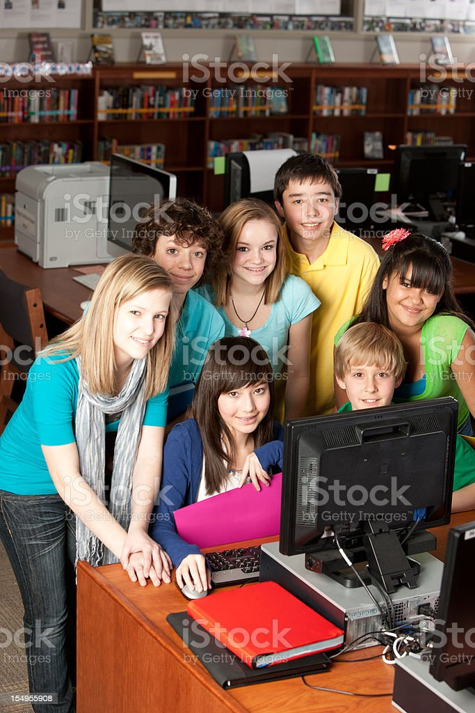 School Education: Multi-Ethnic Group  Students Learning Together on Computer royalty-free stock photo