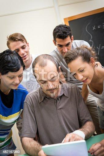 485539628 istock photo School education scene: students and teacher using tablet 482167360