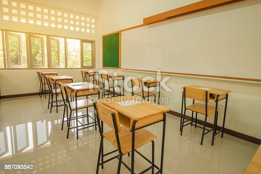 1047047834 istock photo School empty classroom with test sheet or exams paper on desks chair wood and greenboard at high school thailand, education test concept 887093542