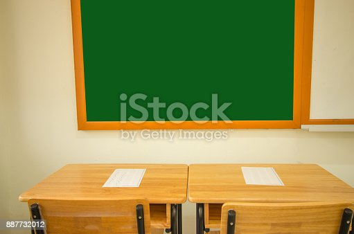 1047047834 istock photo School empty classroom with test sheet or exams paper on desks chair wood and greenboard at high school thailand, education test concept 887732012