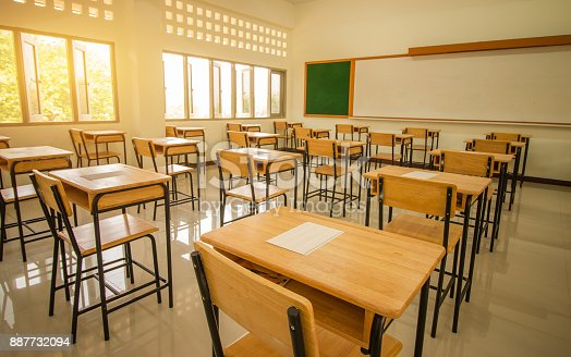 1047047834 istock photo School empty classroom with test sheet or exams paper on desks chair wood and greenboard at high school thailand, education test concept 887732094