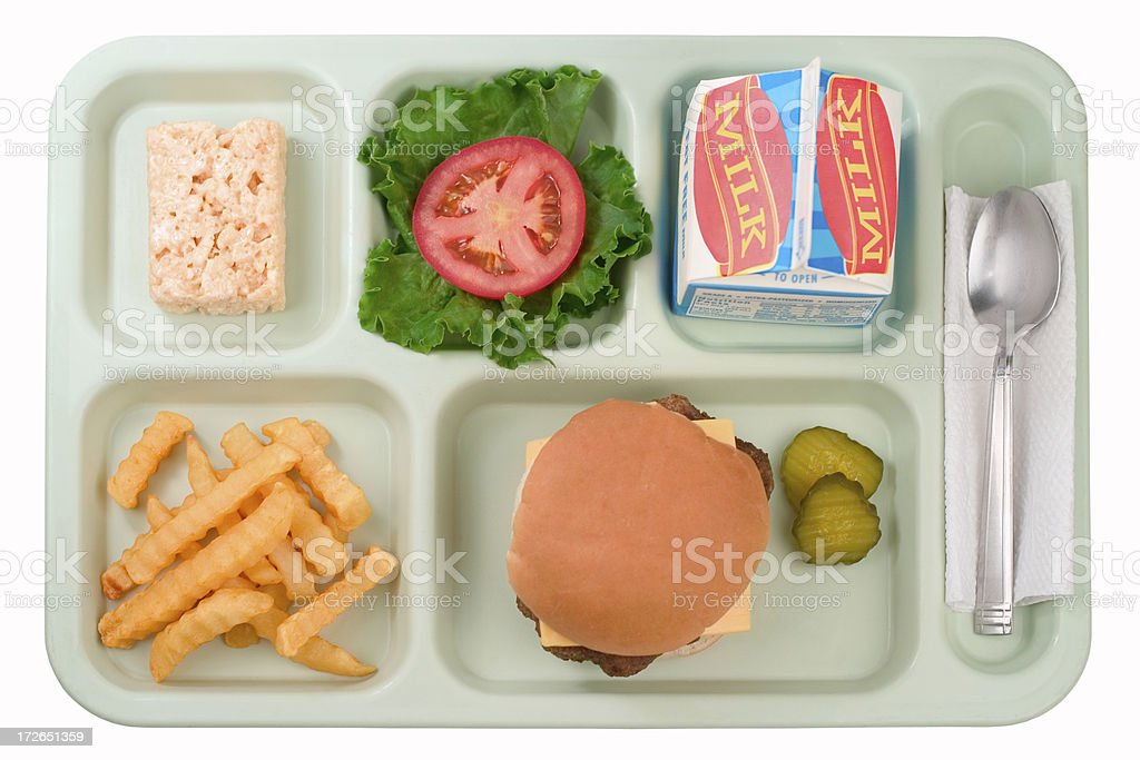 School Food - Cheeseburger stock photo