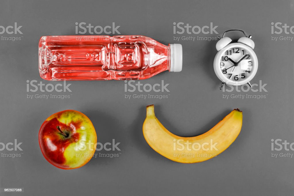 school food concept. school snack, set, School lunch, Top view ,flat lay with copy space - Royalty-free Alarm Clock Stock Photo