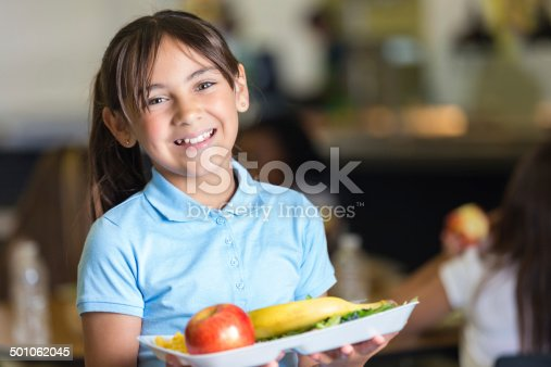 Cute elementary school student holding tray of food in lunchroom