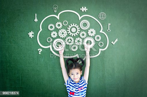 istock School girl kid student with cloud computing mind, smart brain imagination doodle on chalkboard for science technology education, children psychology and mental health awareness concept 956218374