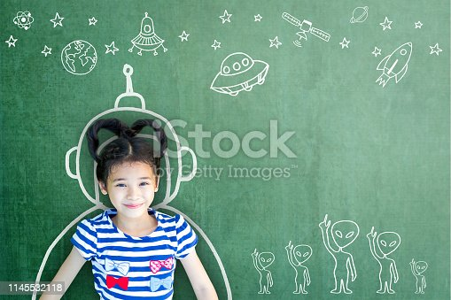 istock School girl kid's imagination with learning inspiration in innovative science technology engineering maths STEM education concept 1145532118