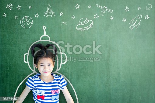 istock School girl kid's imagination with learning inspiration world in innovative science technology engineering maths STEM education and universal children's day concept 955744872