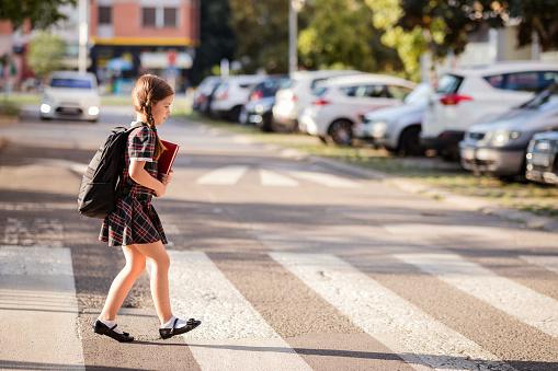 School girl on pedestrian crossing
