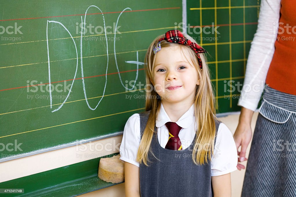 School Girl Proud Of Her Writing, Portrait royalty-free stock photo