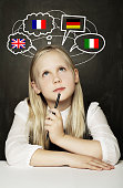 istock School Girl Pupil Learning English, German, French or Italian Language on the Blackboard Background with United Kingdom, Germany, Italy, France Flags 905690778