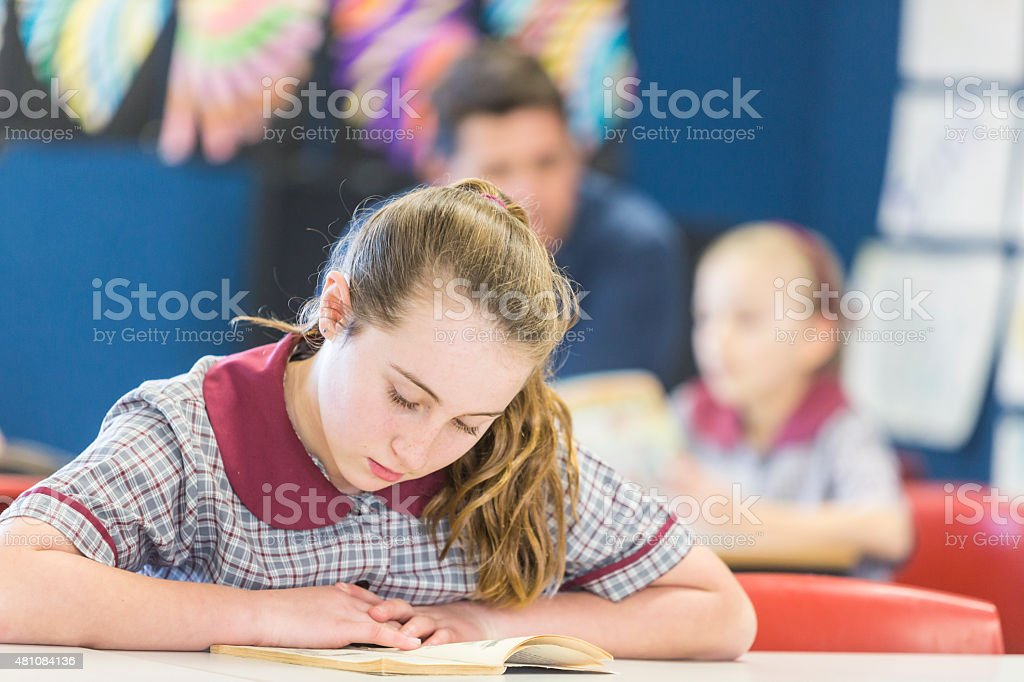School Girl Sitting Reading a Book stock photo